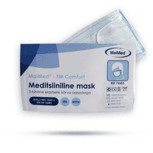 Meditsiinilised maskid elastsete kõrva-aasadega.