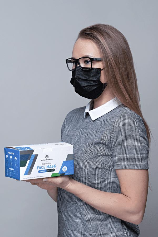 Musta värvi kaitsemask medkeskus 50tk pakk