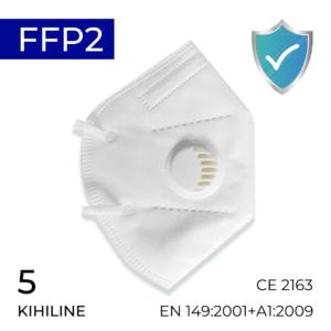 5-kihiline FFP2 kaitsemask, valge mask CE EN Medkeskus