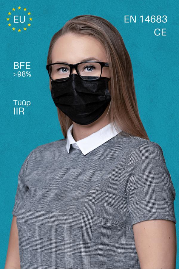 Musta värvi kaitsemaskid must mask medkeskus type IIR tüüp 2R
