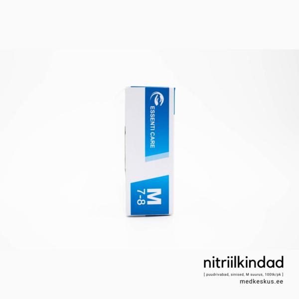 Nitriilkindad, pakendi kõrvaltvaade, M suurus, sinised