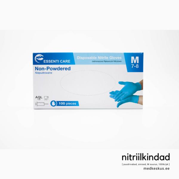 Nitriilkindad, M suurus, sinised, pakendi otsevaade