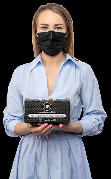 Musta värvi kaitsemaskid IIR EU medkeskus transparent